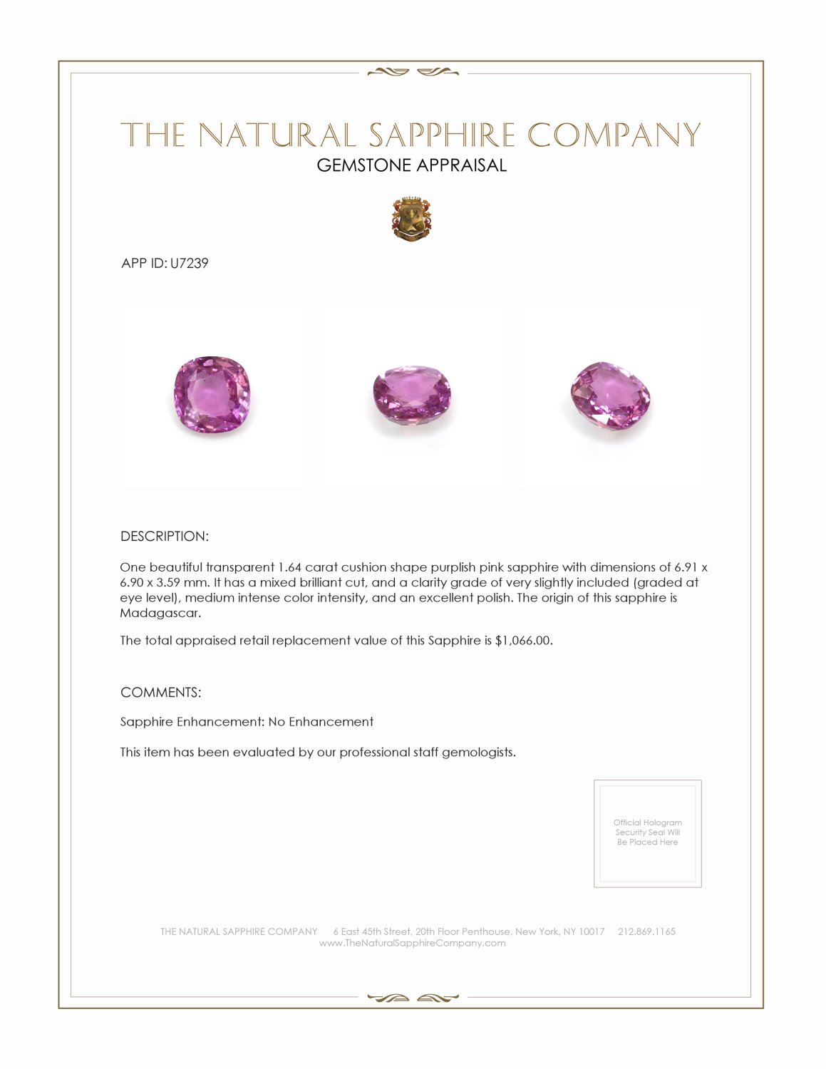 Natural Untreated Purplish Pink Sapphire U7239 Certification 3