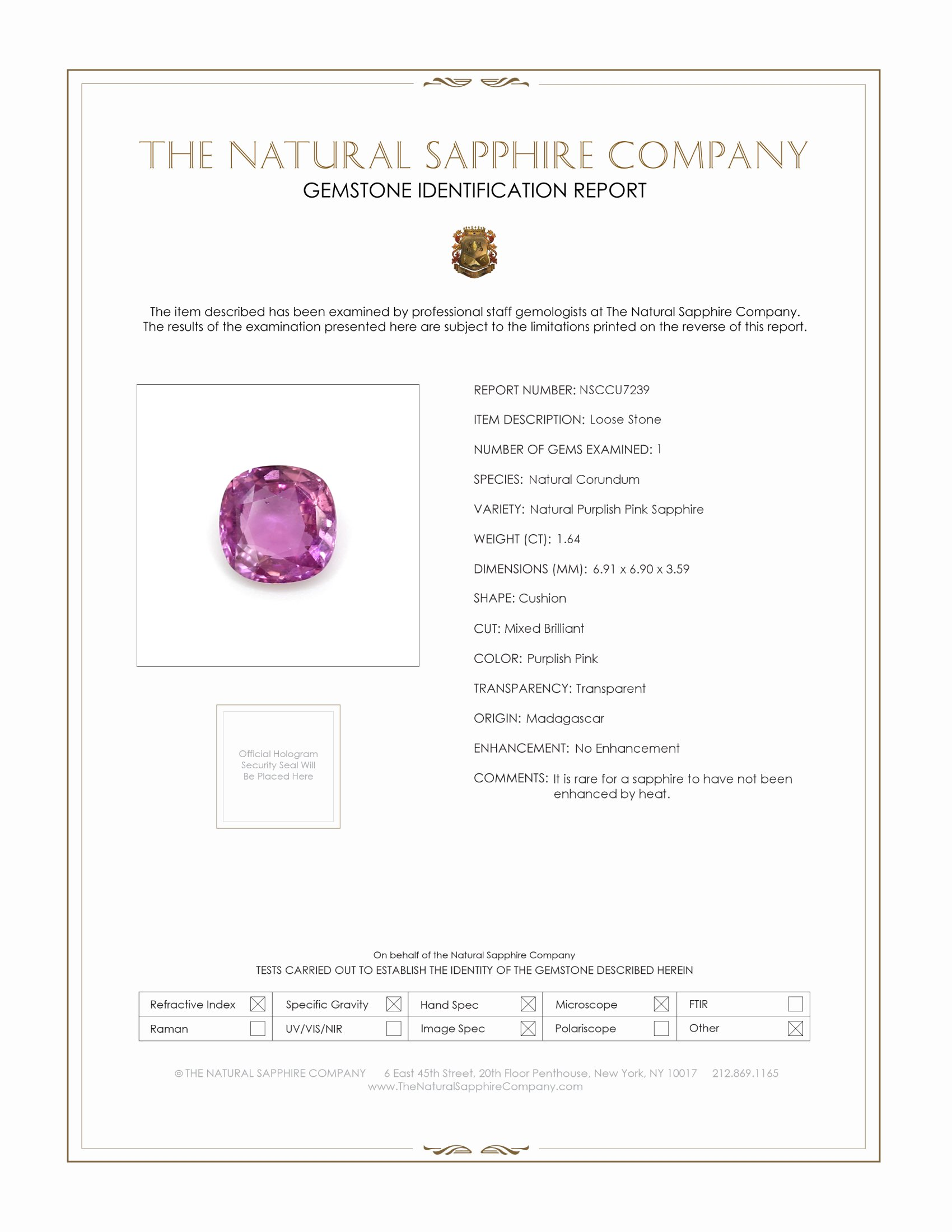 Natural Untreated Purplish Pink Sapphire U7239 Certification