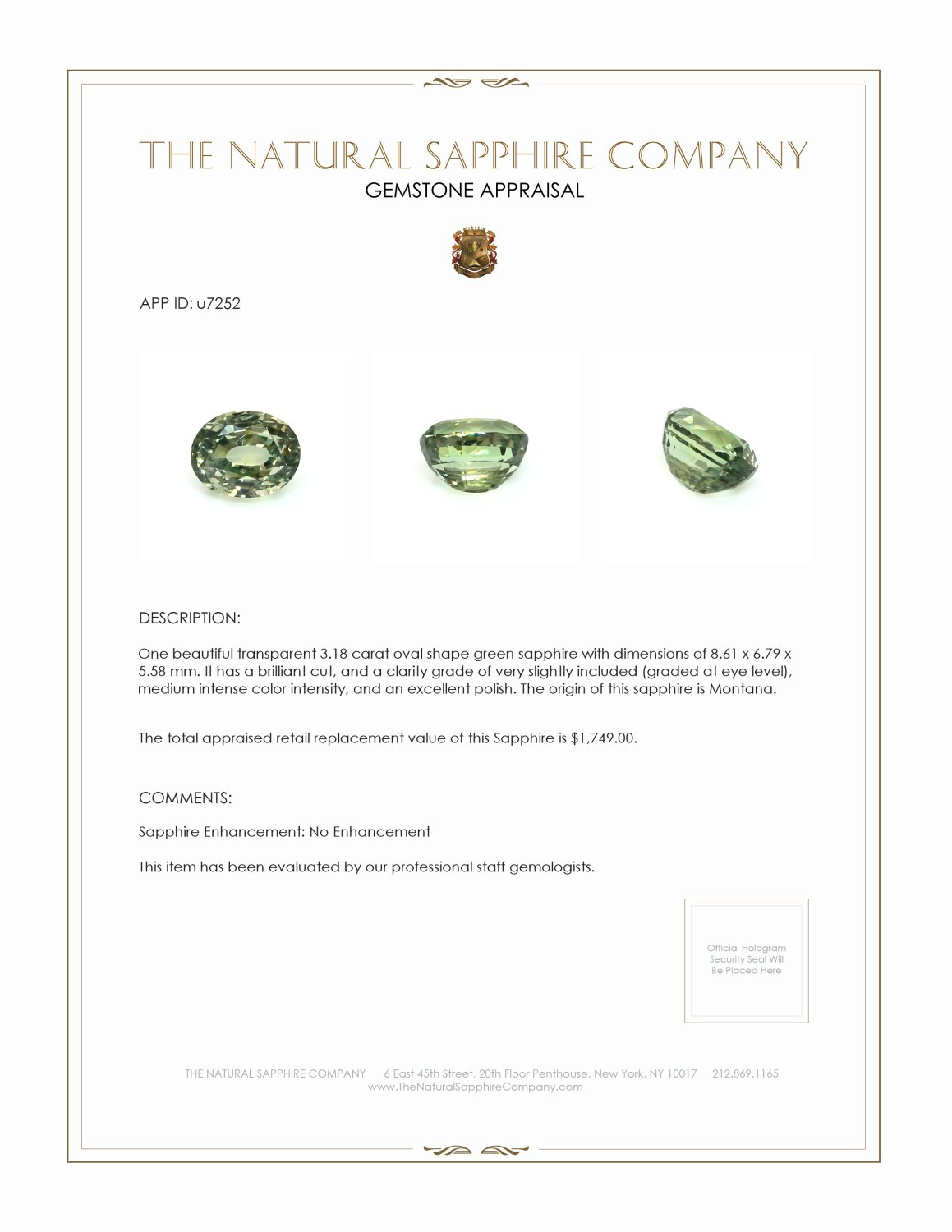 Natural Untreated Greenish Yellow Sapphire U7252 Certification
