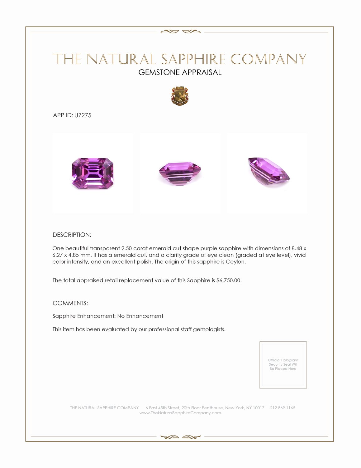 Natural Untreated Purple Sapphire U7275 Certification 4