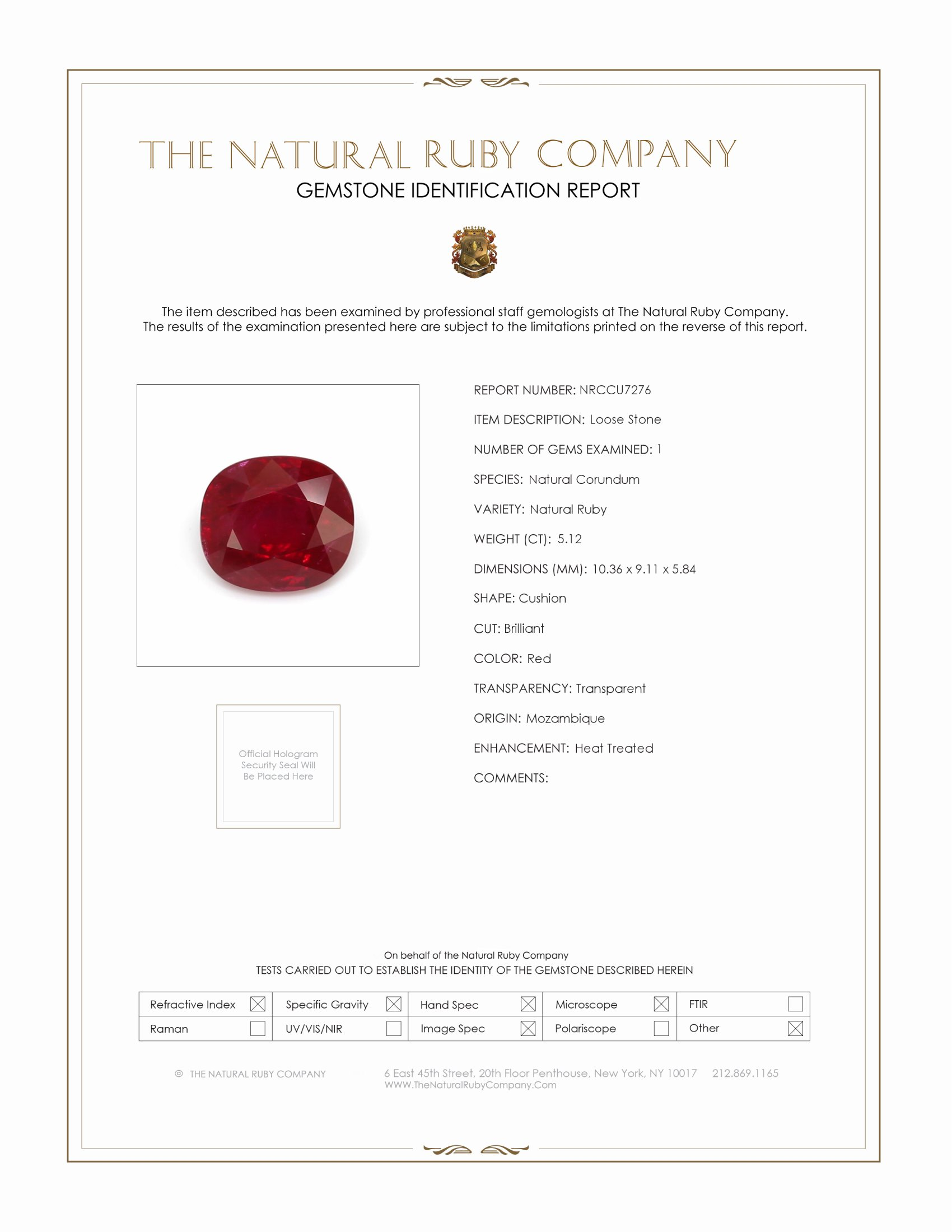 Natural Ruby U7276 Certification