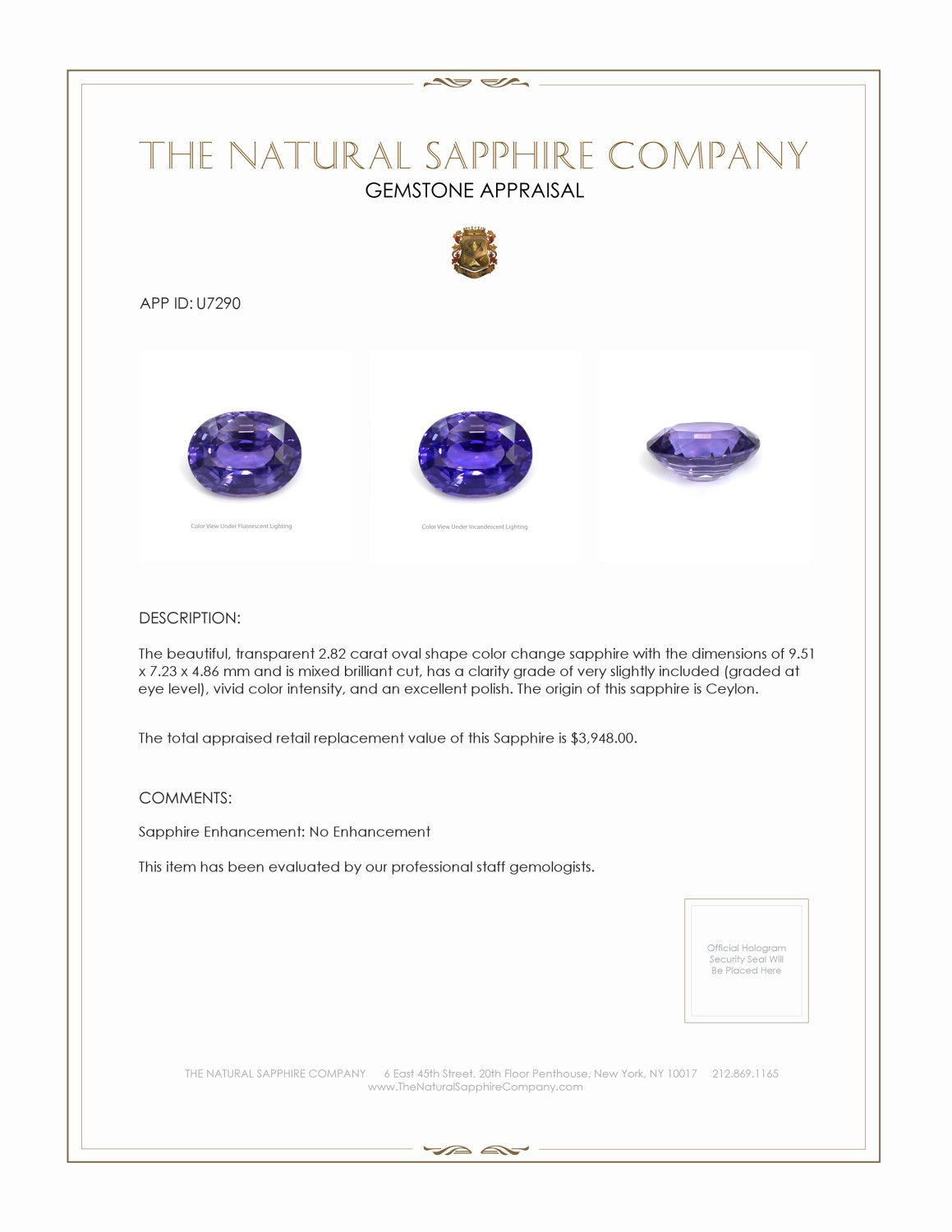 Natural Untreated Color-Change Sapphire U7290 Certification 3