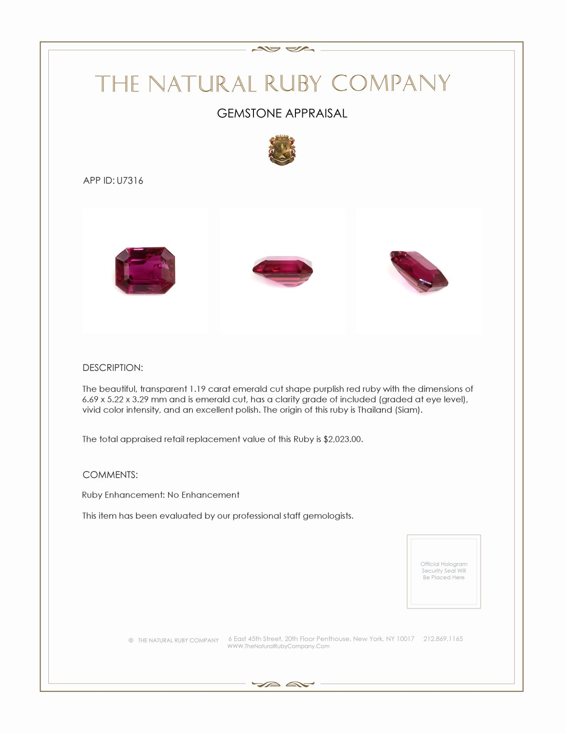 Natural Untreated Ruby U7316 Certification 4