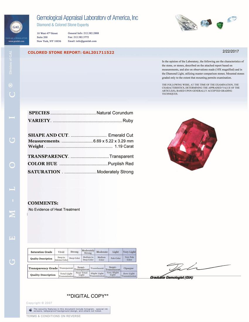 Natural Untreated Ruby U7316 Certification 3