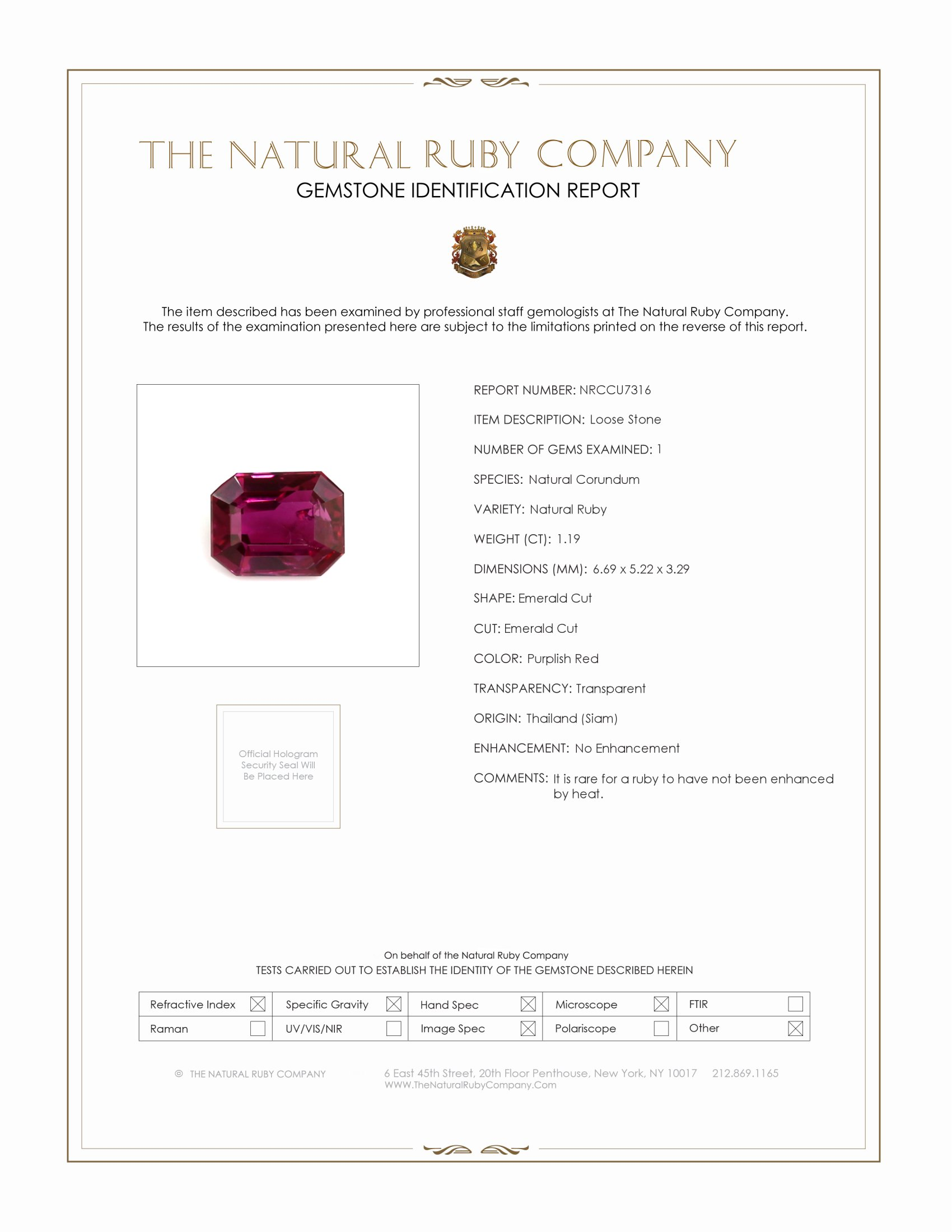 Natural Untreated Ruby U7316 Certification