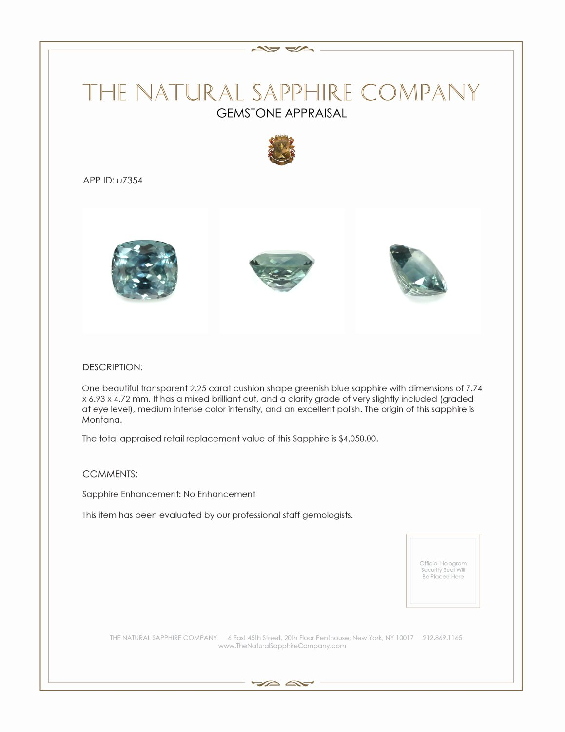 Natural Untreated Greenish Blue Sapphire U7354 Certification 3
