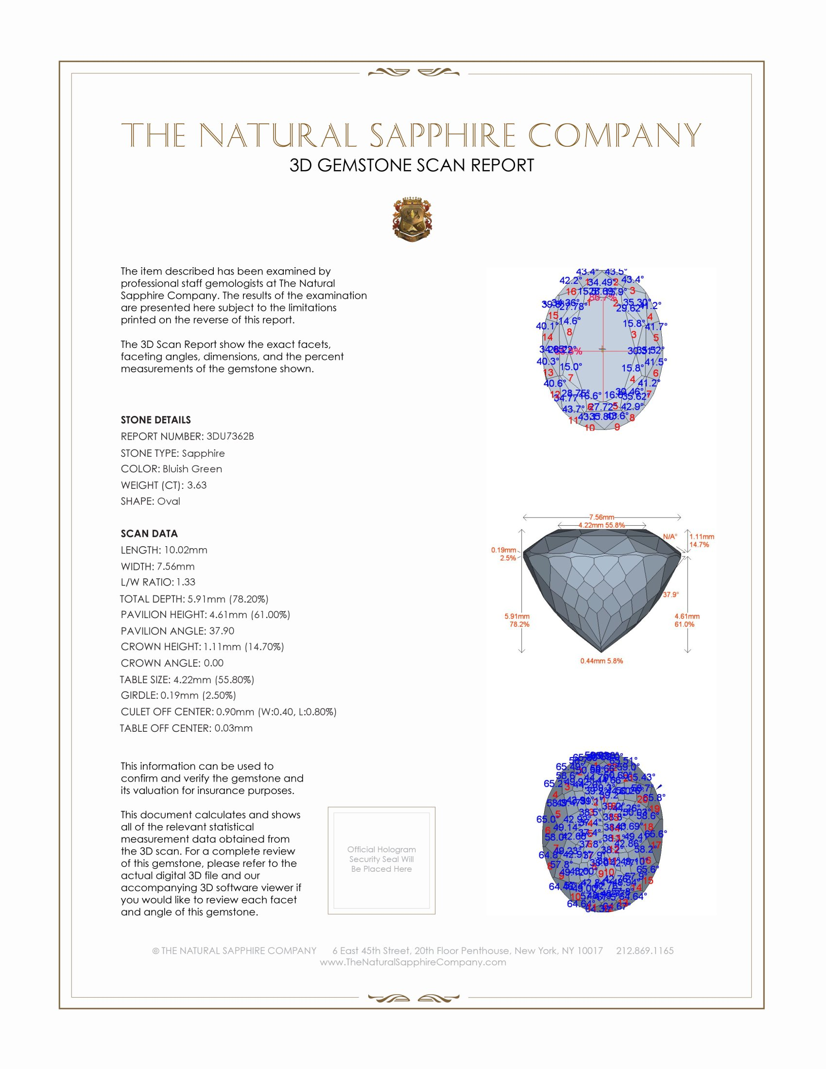 Natural Untreated Greenish Blue Sapphire U7362 Certification 2