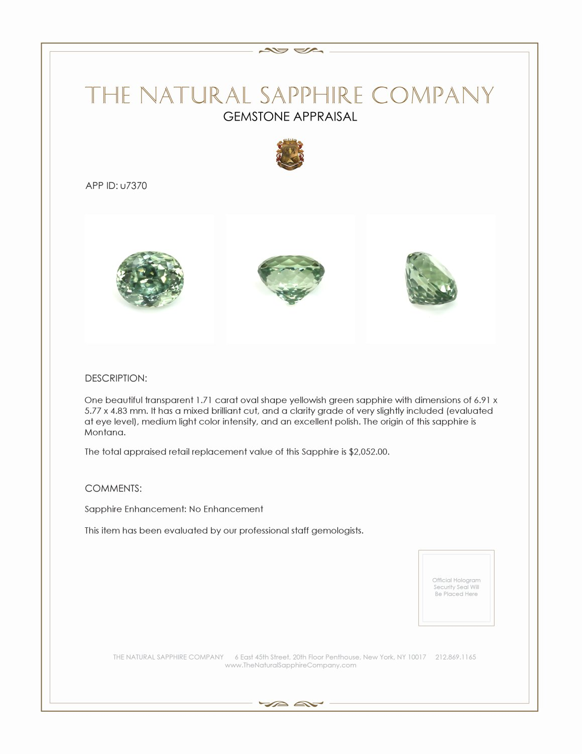 Natural Untreated Yellowish Green Sapphire U7370 Certification 3