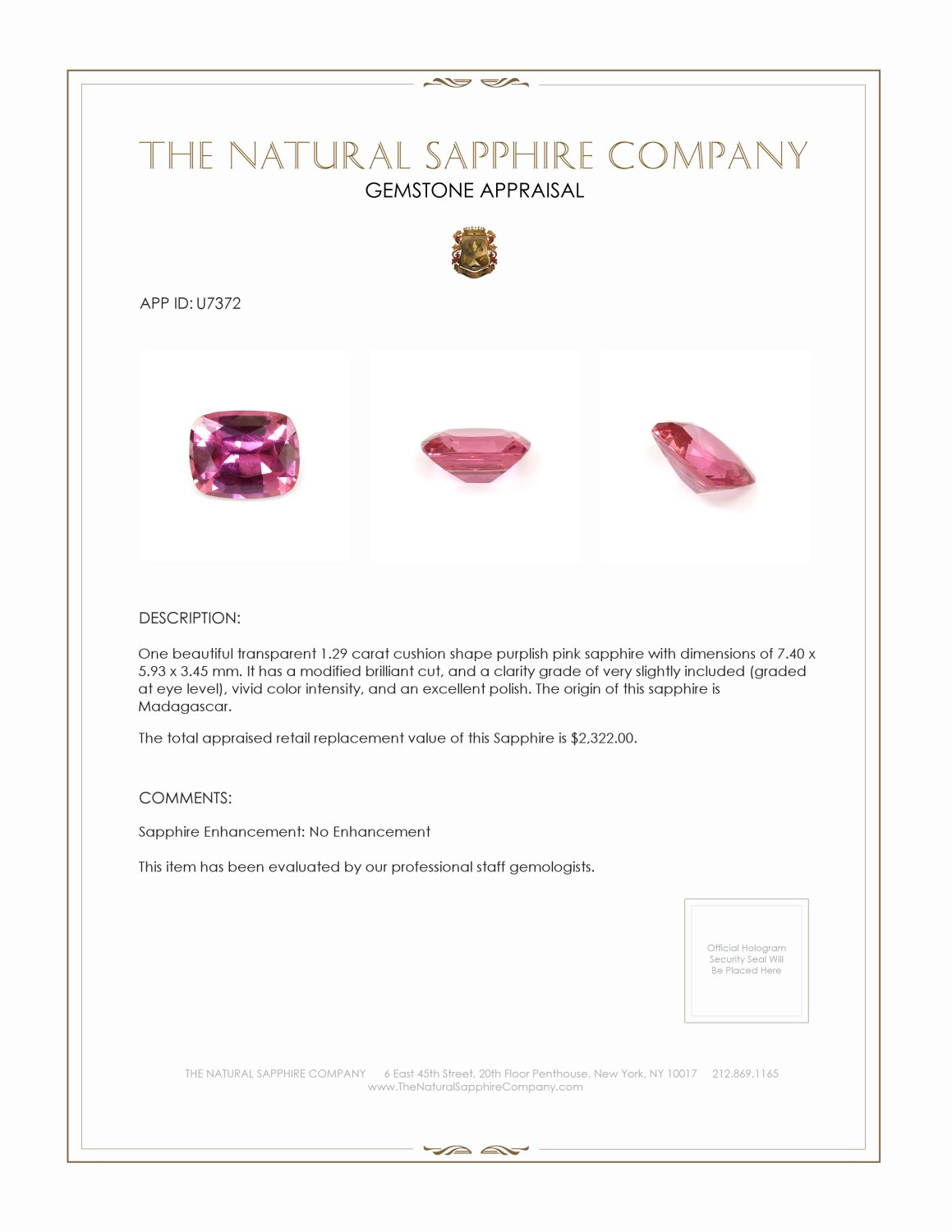 Natural Untreated Purplish Pink Sapphire U7372 Certification 4