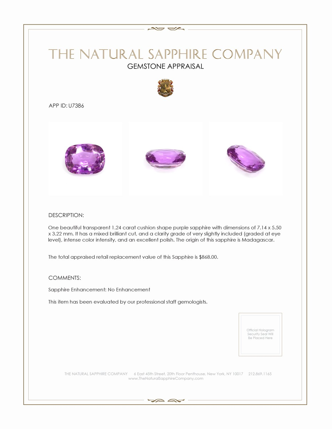 Natural Untreated Purple Sapphire U7386 Certification 3