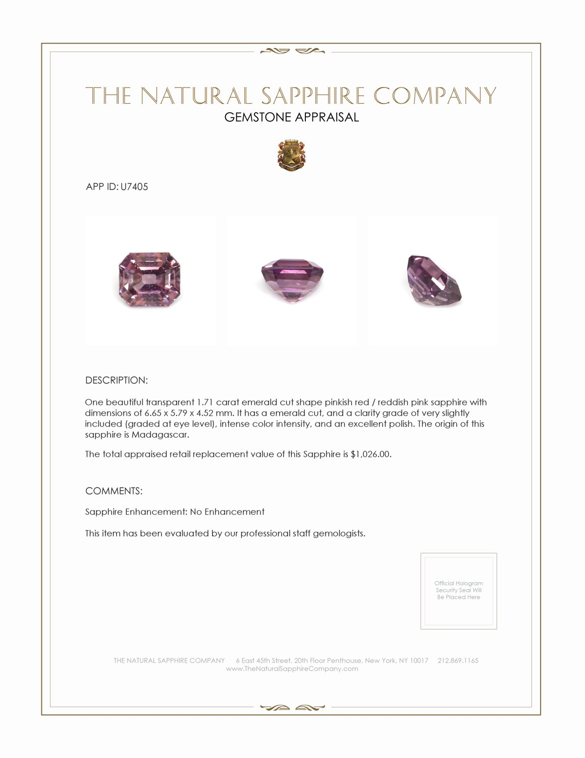 Natural Untreated Purplish Pink Sapphire U7405 Certification 3