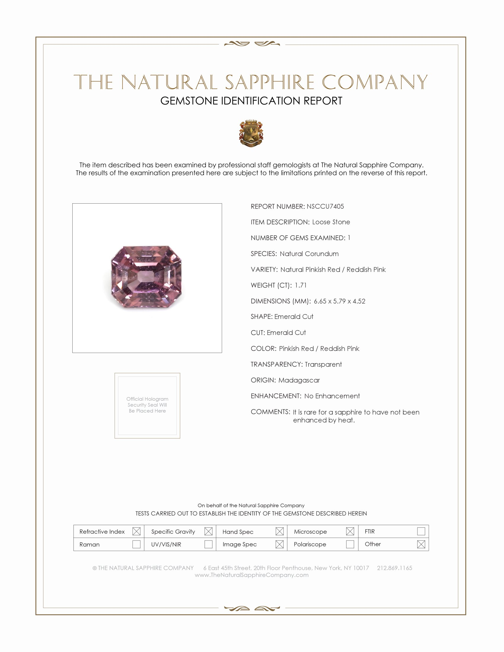 Natural Untreated Purplish Pink Sapphire U7405 Certification