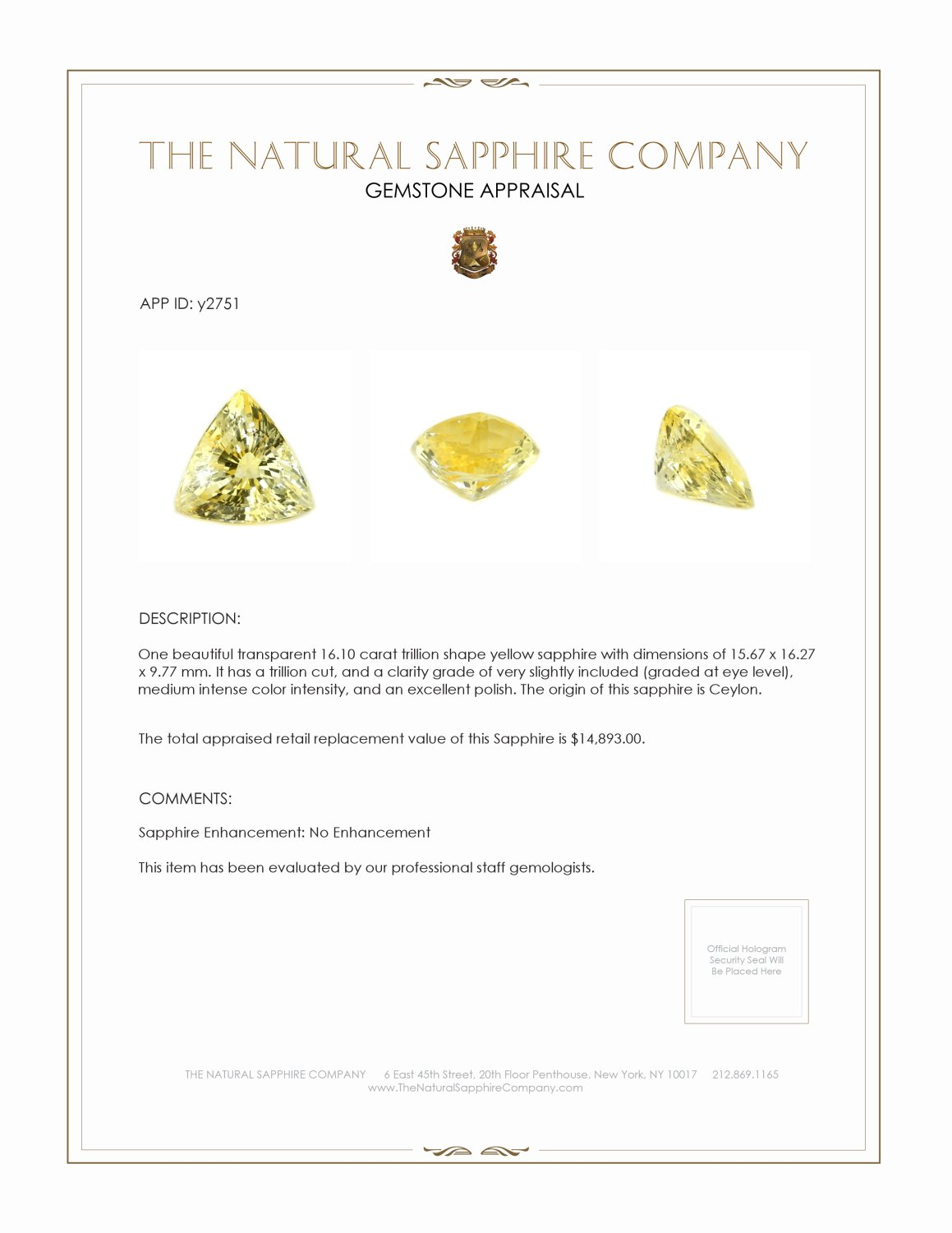 Natural Untreated Yellow Sapphire Y2751 Certification 4