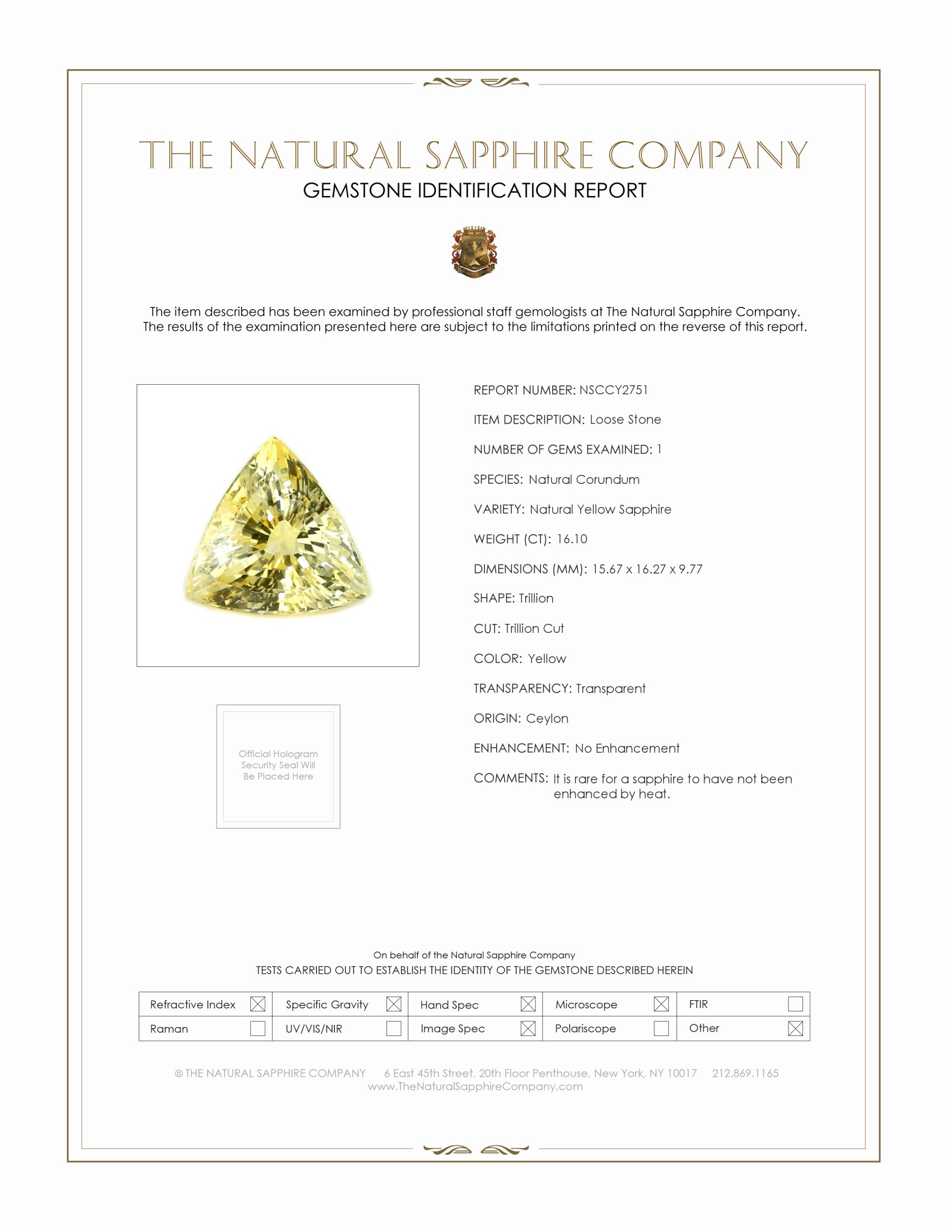 Natural Untreated Yellow Sapphire Y2751 Certification