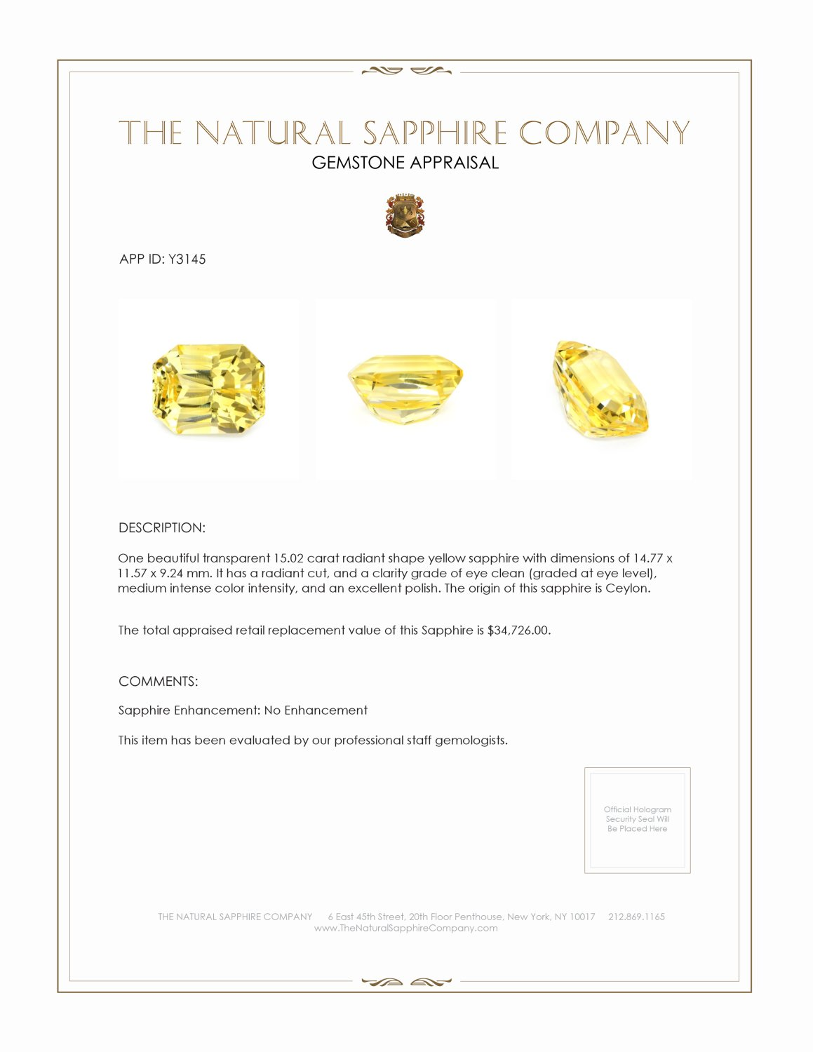 Natural Untreated Yellow Sapphire Y3145 Certification 4