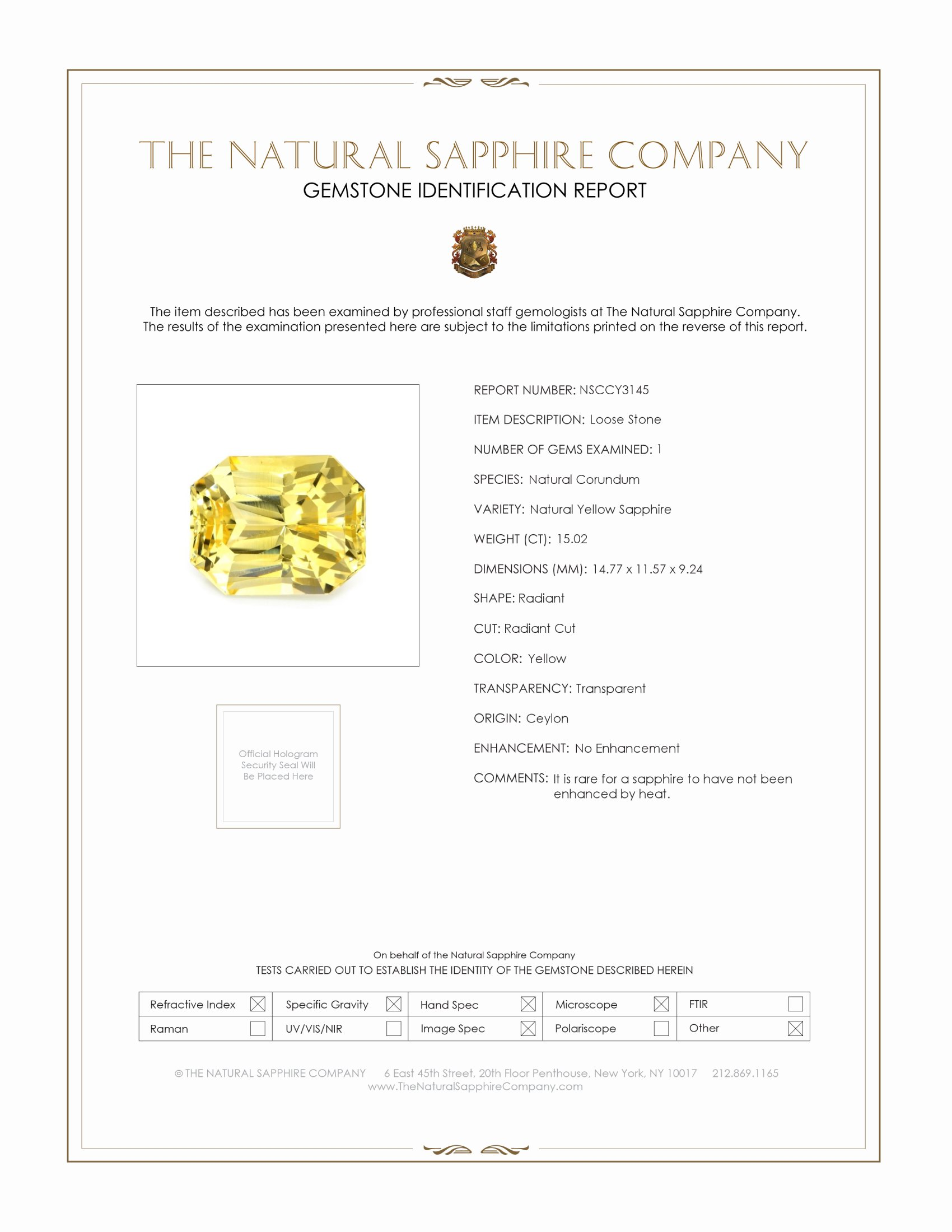 Natural Untreated Yellow Sapphire Y3145 Certification