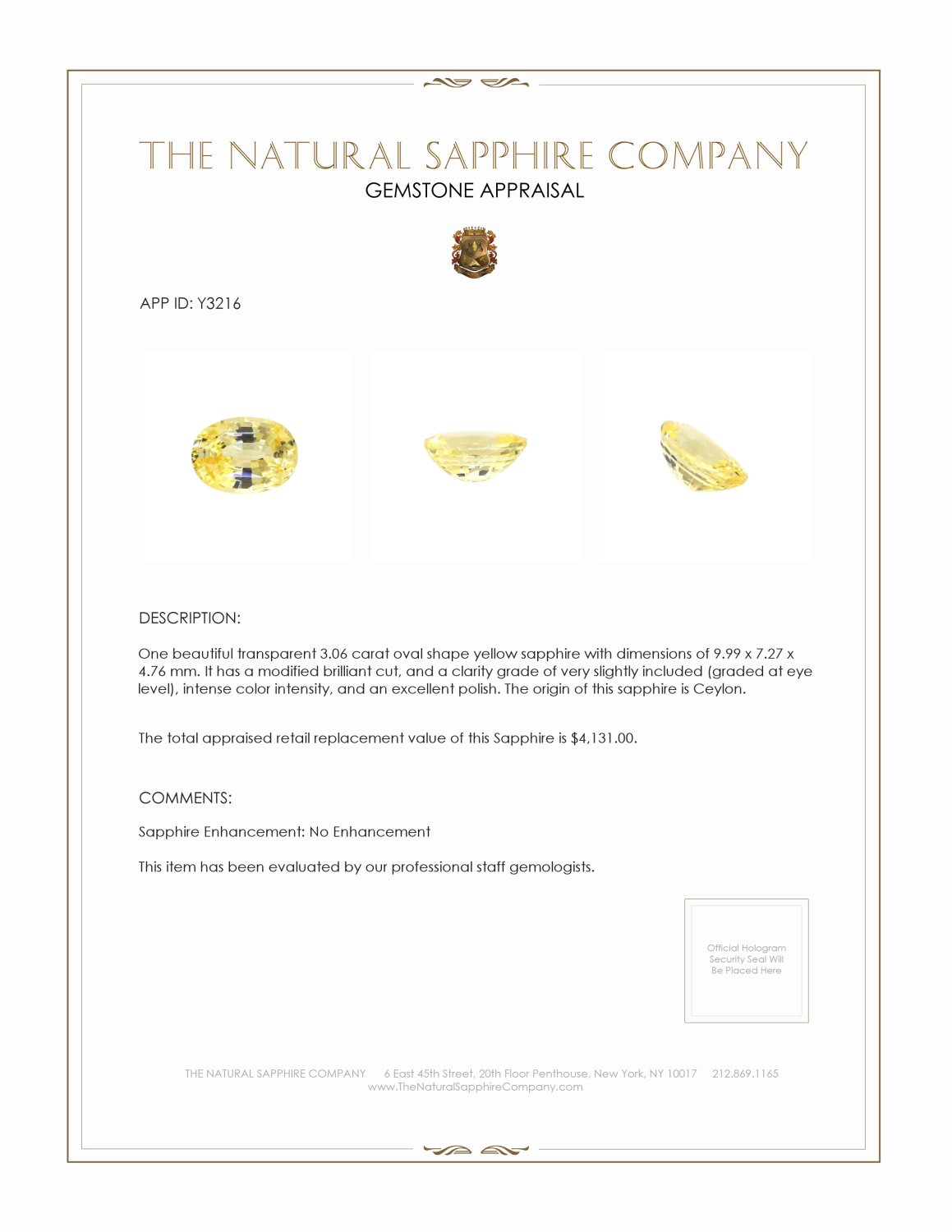 Natural Untreated Yellow Sapphire Y3216 Certification
