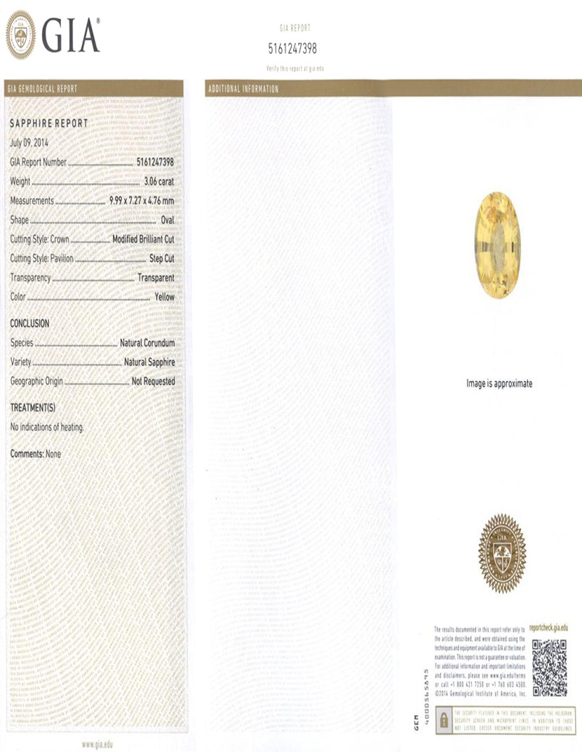 Natural Untreated Yellow Sapphire Y3216 Certification 3