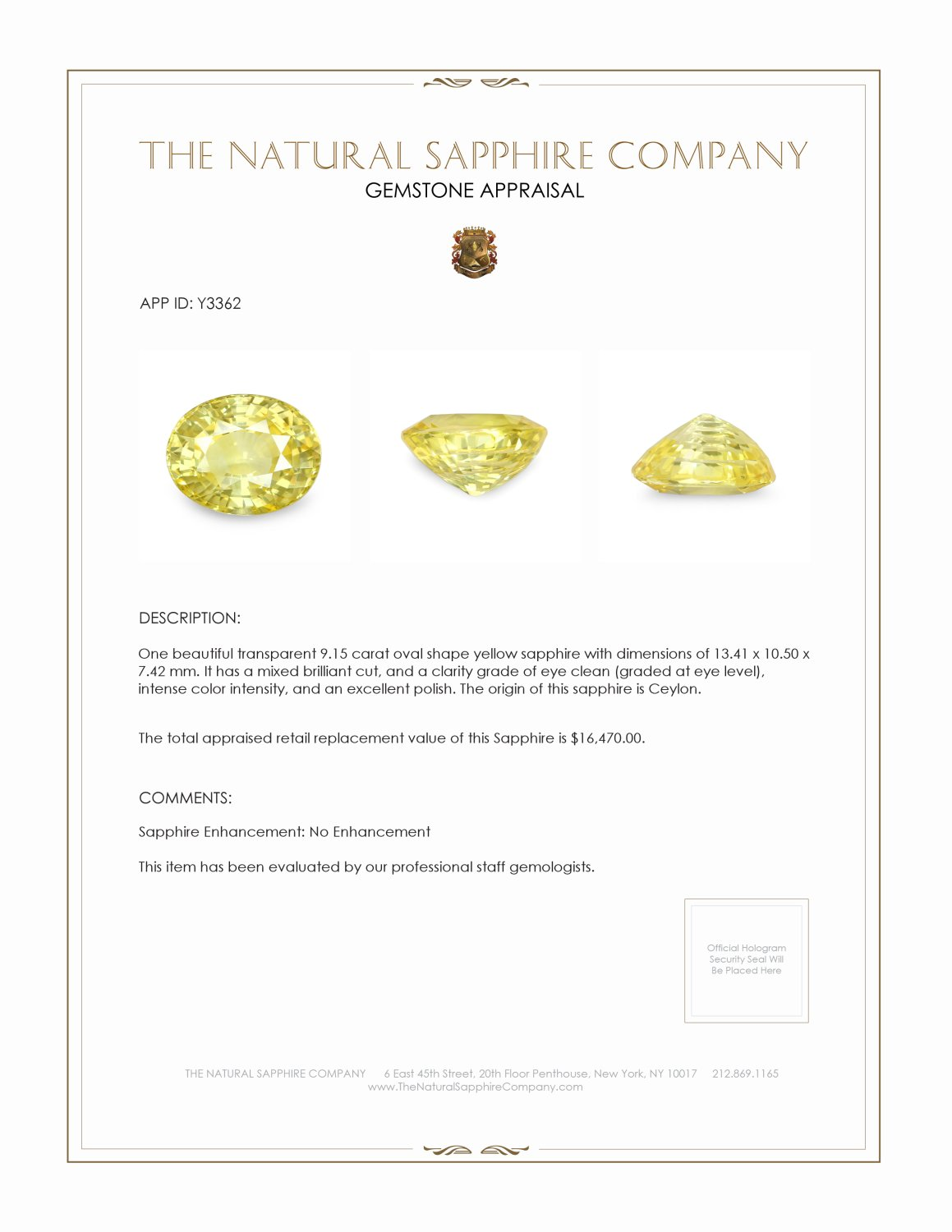 Natural Untreated Yellow Sapphire Y3362 Certification