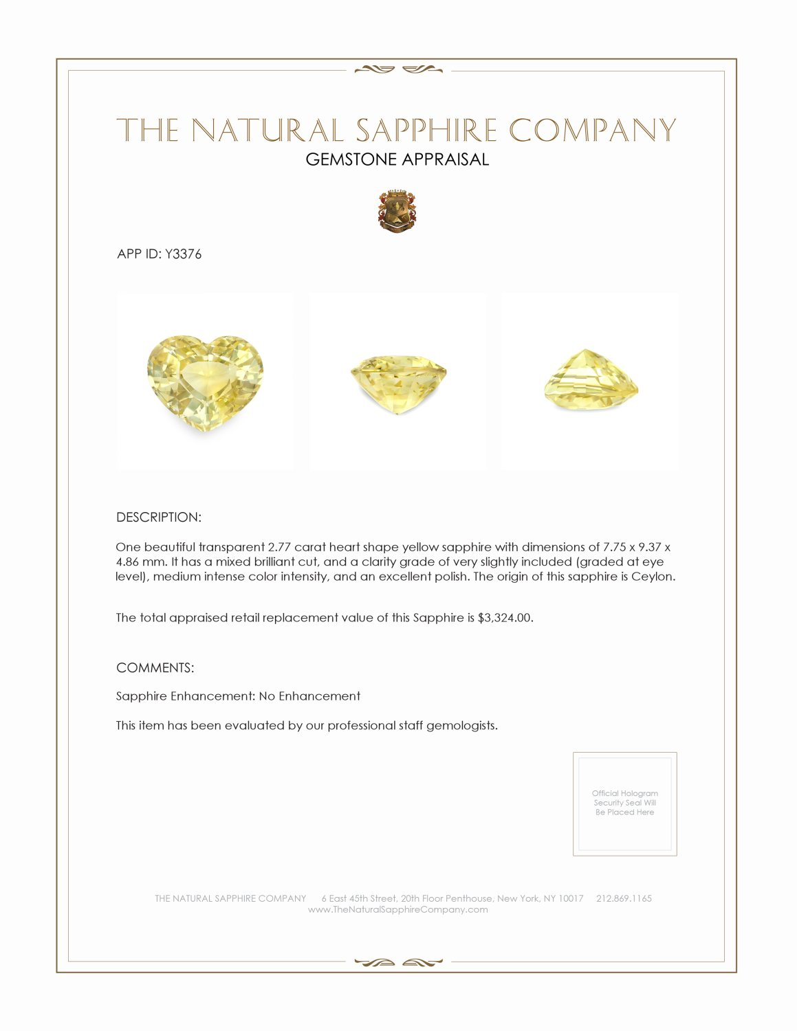 Natural Untreated Yellow Sapphire Y3376 Certification