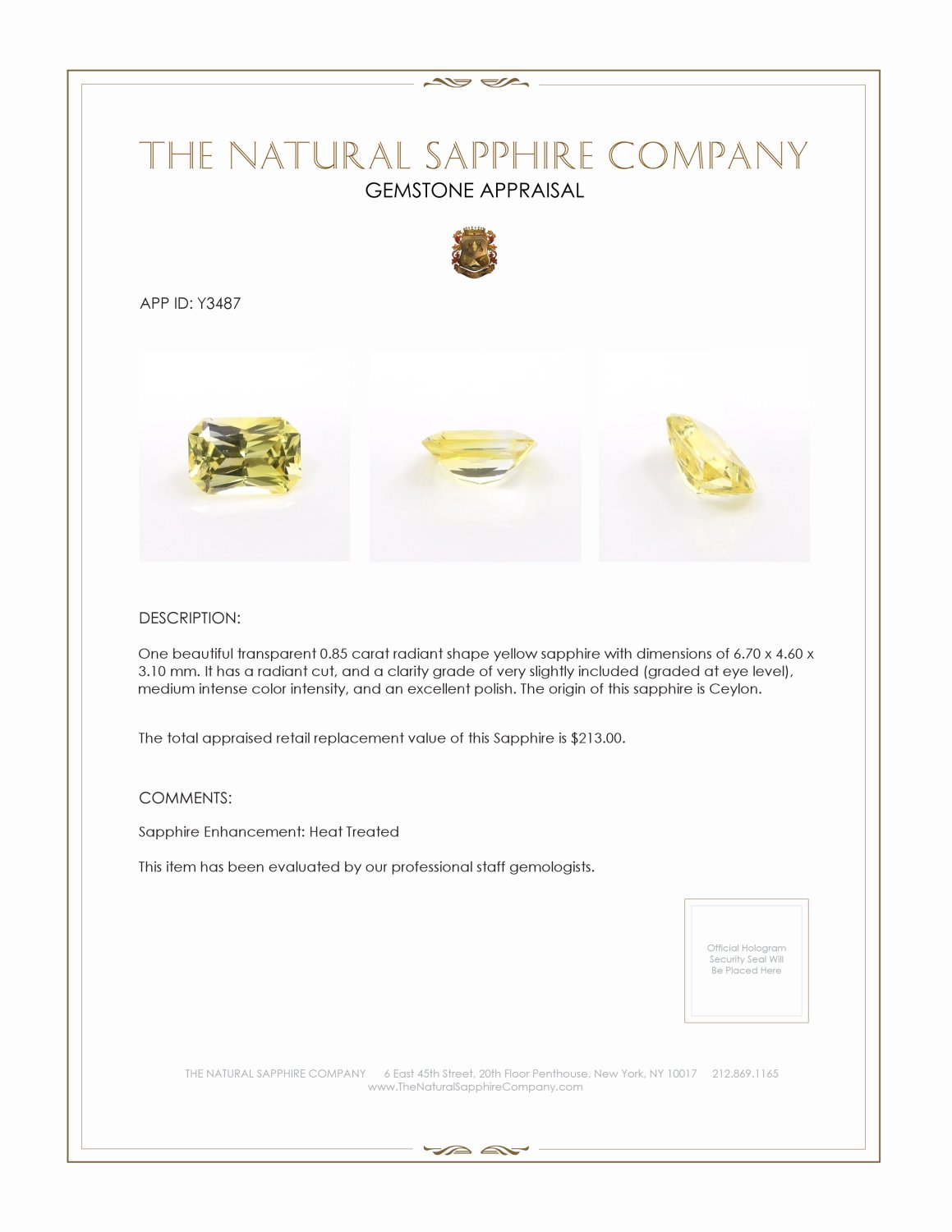 Natural Yellow Sapphire Y3487 Certification