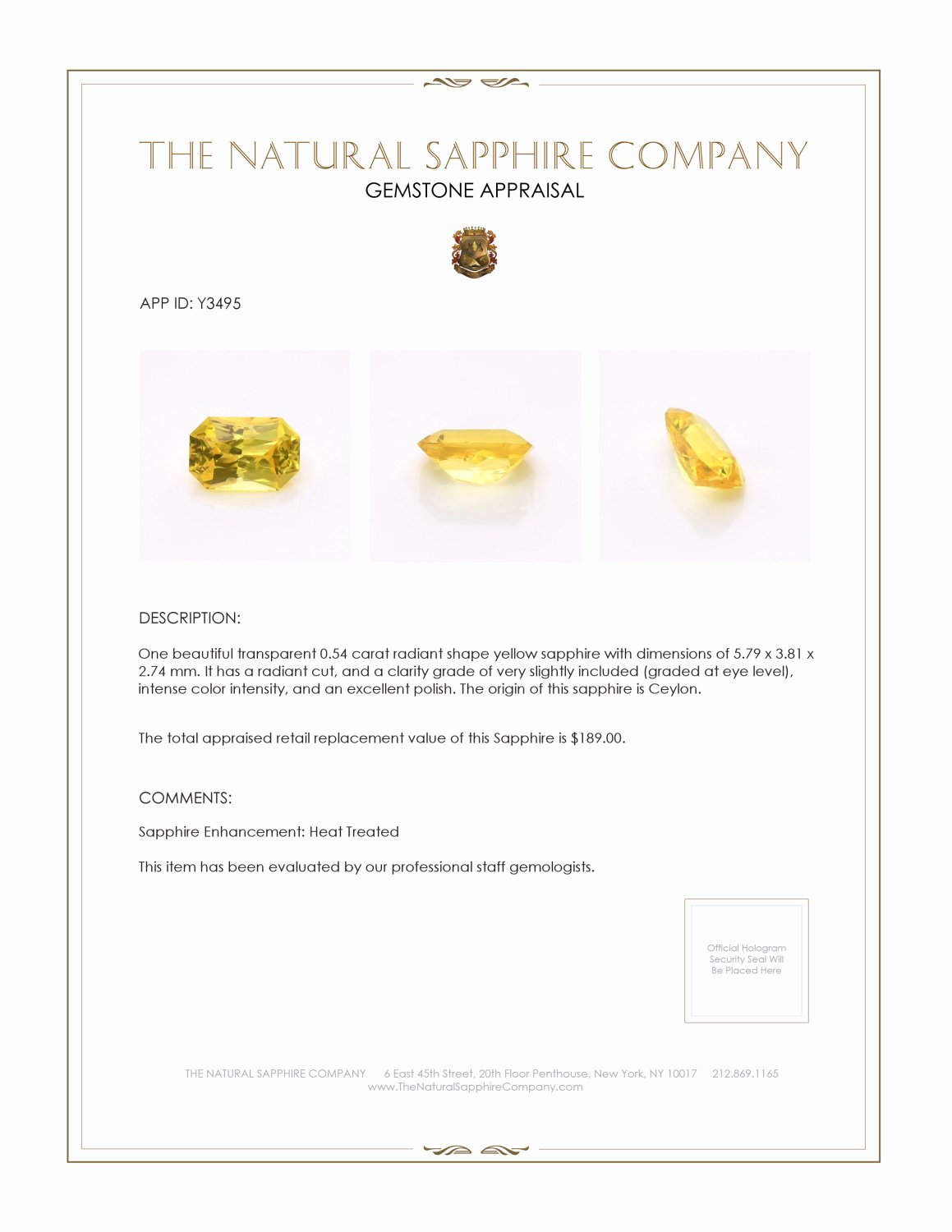 Natural Yellow Sapphire Y3495 Certification