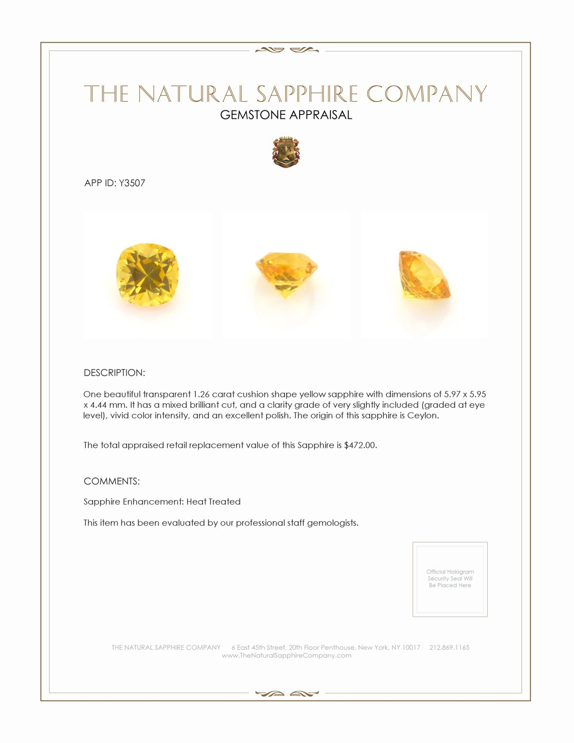 Natural Yellow Sapphire Y3507 Certification