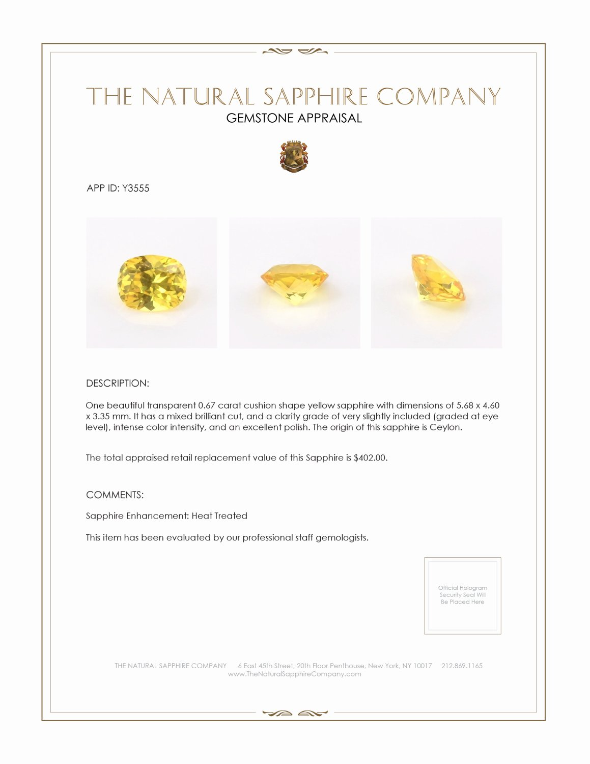 Natural Yellow Sapphire Y3555 Certification