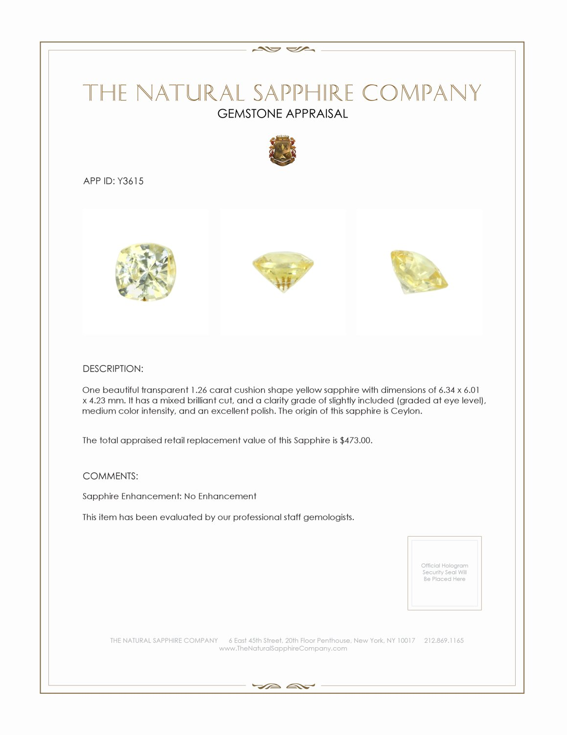 Natural Untreated Yellow Sapphire Y3615 Certification 3