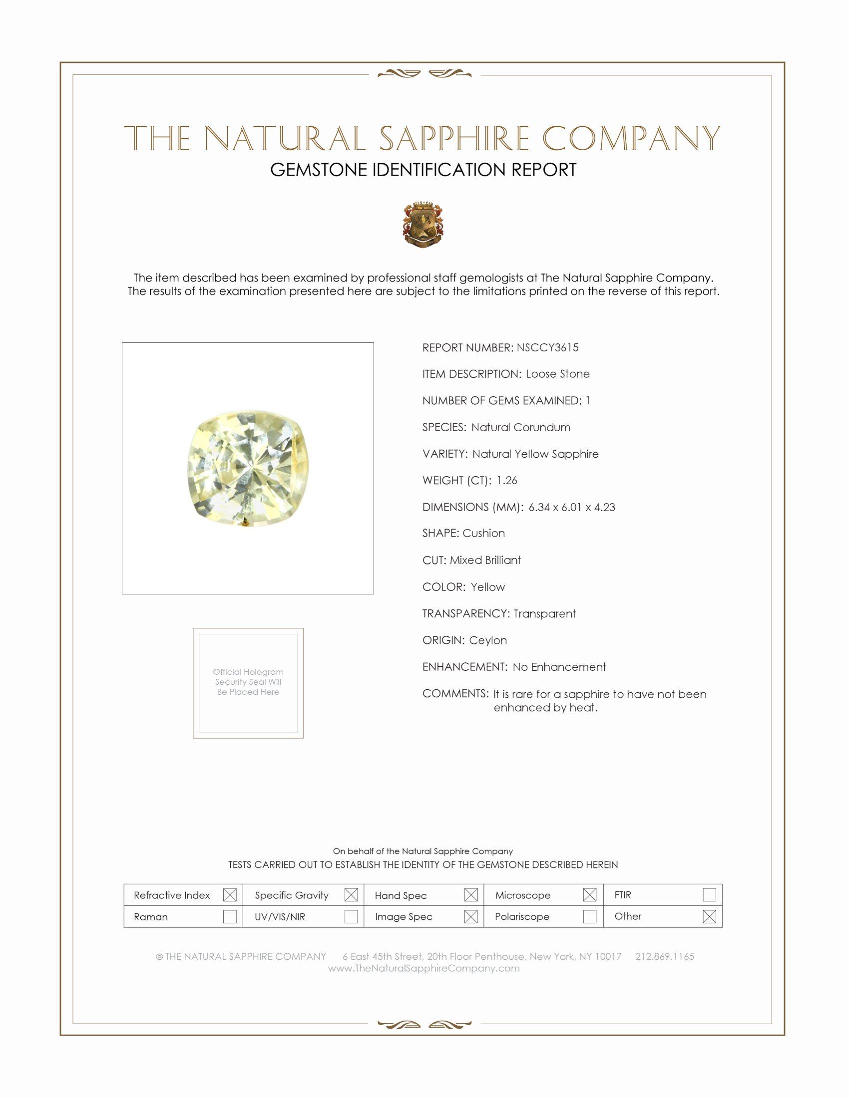 Natural Untreated Yellow Sapphire Y3615 Certification
