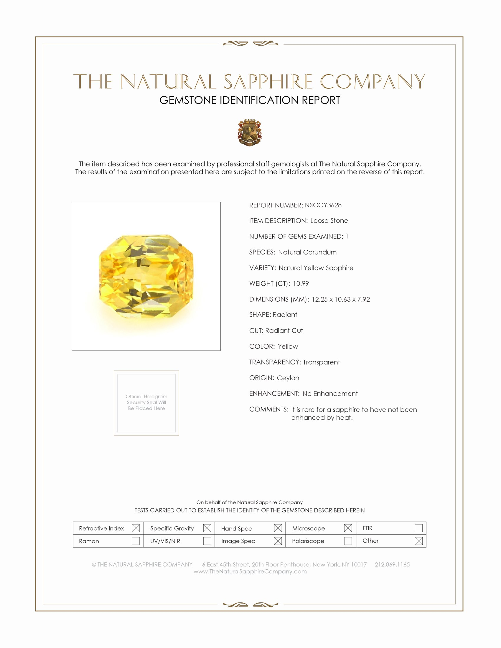 Natural Untreated Yellow Sapphire Y3628 Certification