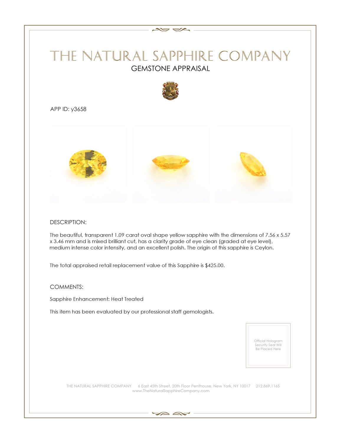 Natural Yellow Sapphire Y3658 Certification 3
