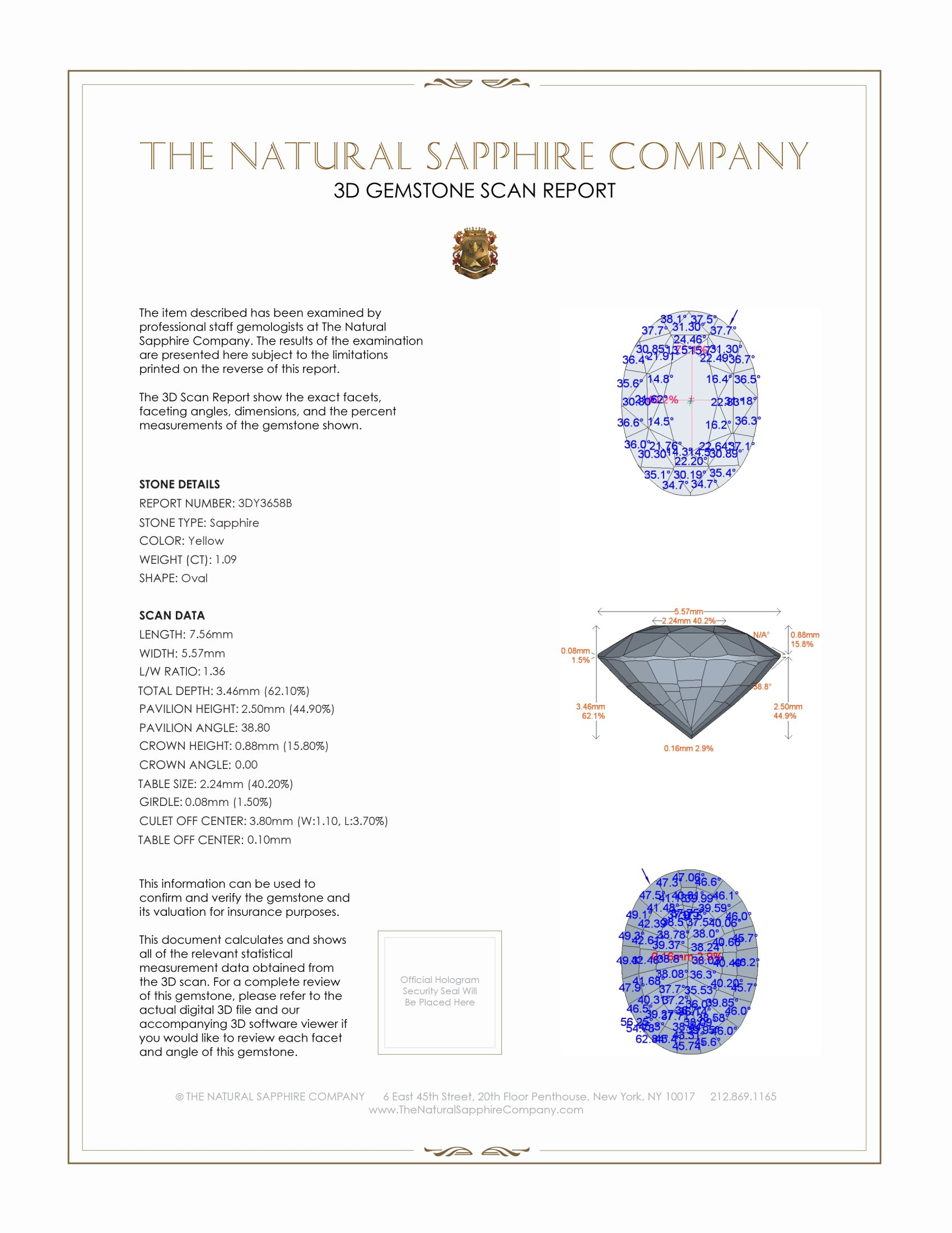 Natural Yellow Sapphire Y3658 Certification 2