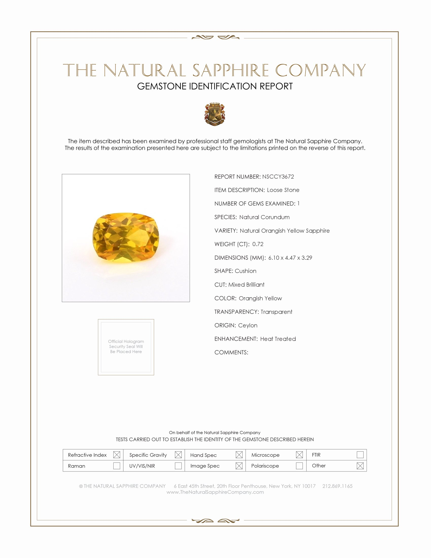 Natural Yellowish Brown Sapphire Y3672 Certification