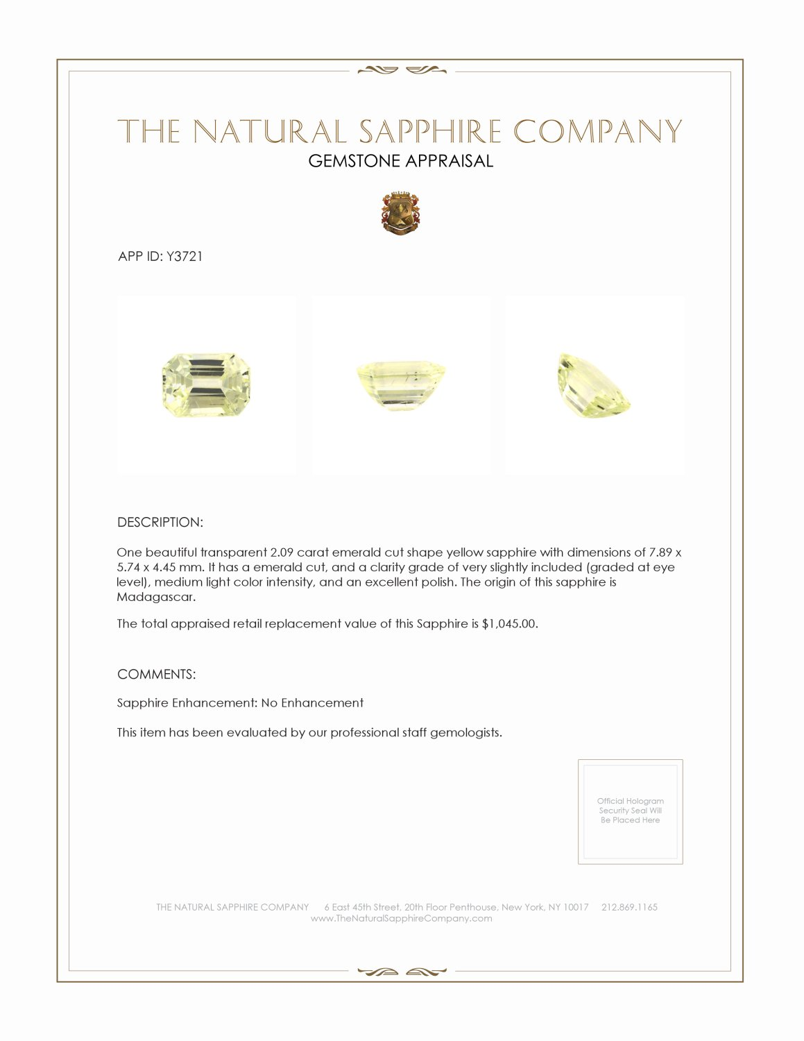 Natural Untreated Yellow Sapphire Y3721 Certification 3
