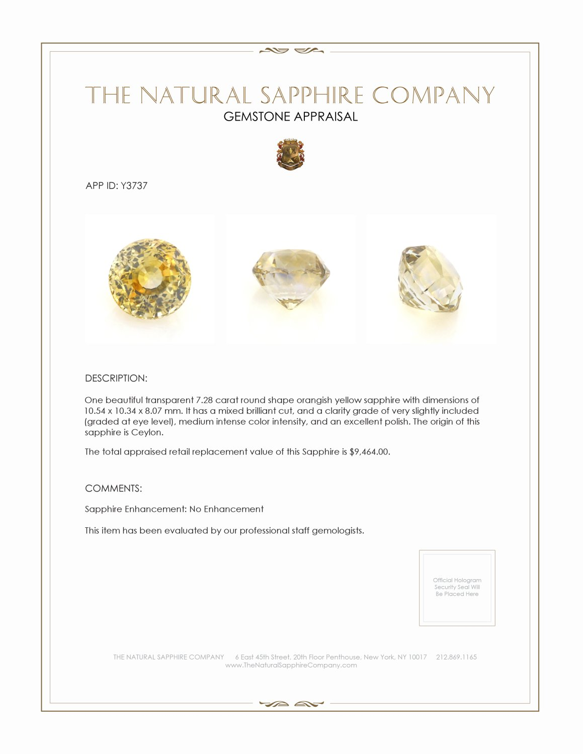 Natural Untreated Yellow Sapphire Y3737 Certification 4