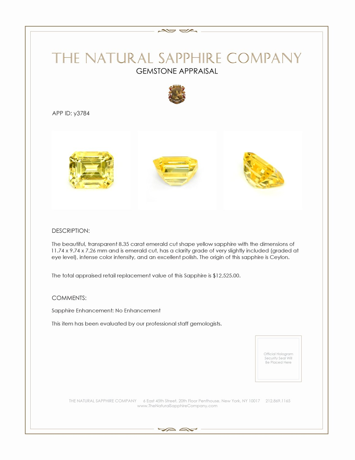 Natural Certified Untreated Yellow Sapphire Ring in 18K White Gold Y3784 Certification