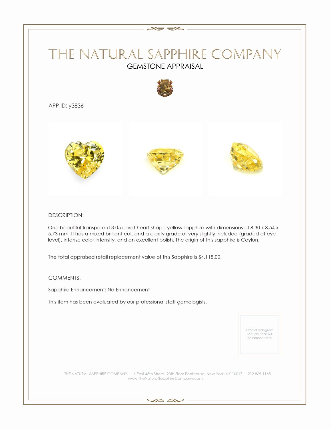 Natural Untreated Yellow Sapphire Y3836 Certification