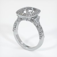 18K White Gold Pave Diamond Ring Setting - JS1003W18