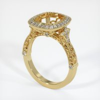 14K Yellow Gold Pave Diamond Ring Setting - JS1003Y14