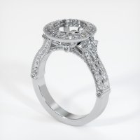 18K White Gold Pave Diamond Ring Setting - JS1004W18