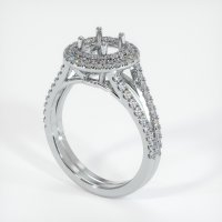 18K White Gold Pave Diamond Ring Setting - JS1008W18