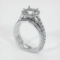 18K White Gold Pave Diamond Ring Setting - JS1009W18