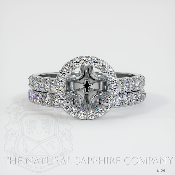 French Cut Diamond Halo Ring Set - European Shank JS1009 Image 2