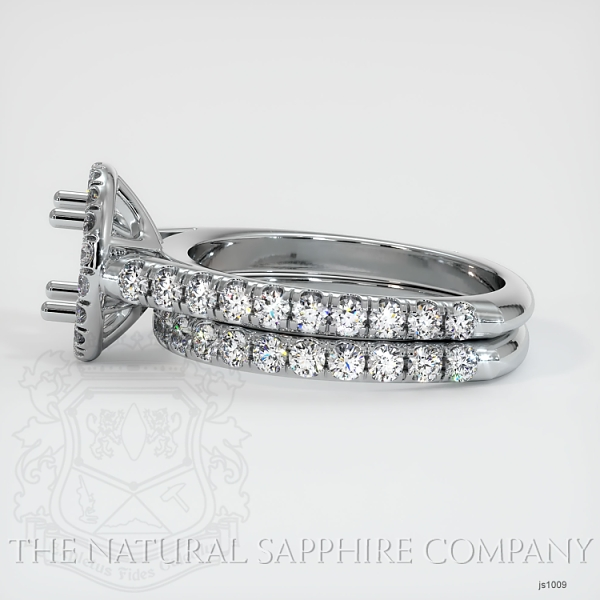 French Cut Diamond Halo Ring Set - European Shank JS1009 Image 3