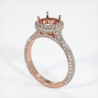 14K Rose Gold Pave Diamond Ring Setting - JS1012R14