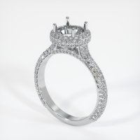 18K White Gold Pave Diamond Ring Setting - JS1012W18