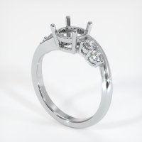 14K White Gold Ring Setting - JS1018W14