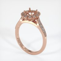 14K Rose Gold Pave Diamond Ring Setting - JS1022R14