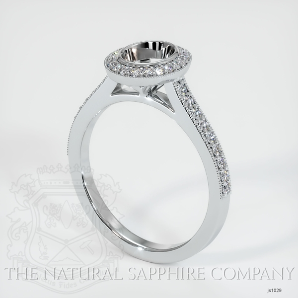 Bezel Set Pave Diamond Halo Ring Setting JS1029 Image